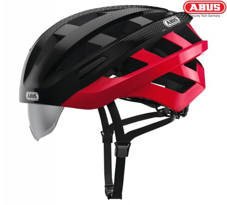 Велошлем ABUS In-Vizz Ascent red comb